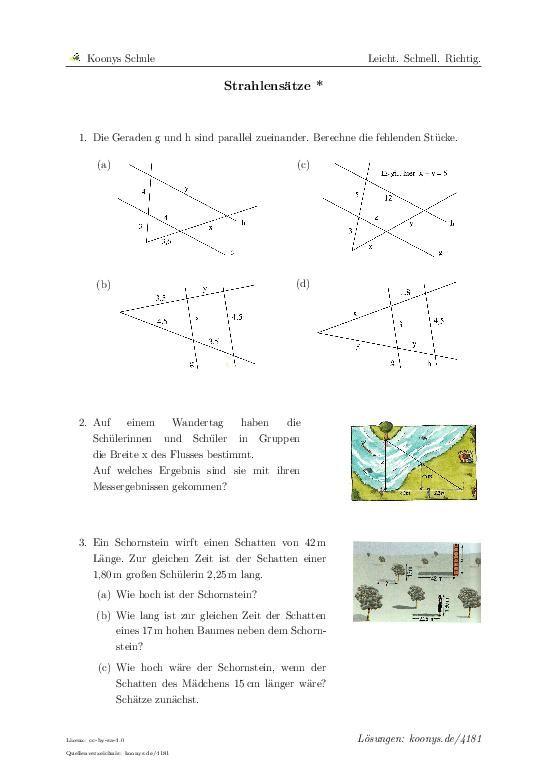 Strahlensätze * | Aufgaben mit Lösungen und Videoerklärungen | #4181 ...