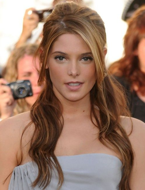Ashley Greene Long Hairstyle Half Up Half Down With Side Bangs