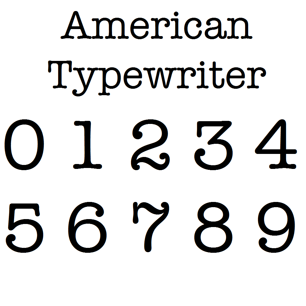 American Typewriter Font MDF Numbers