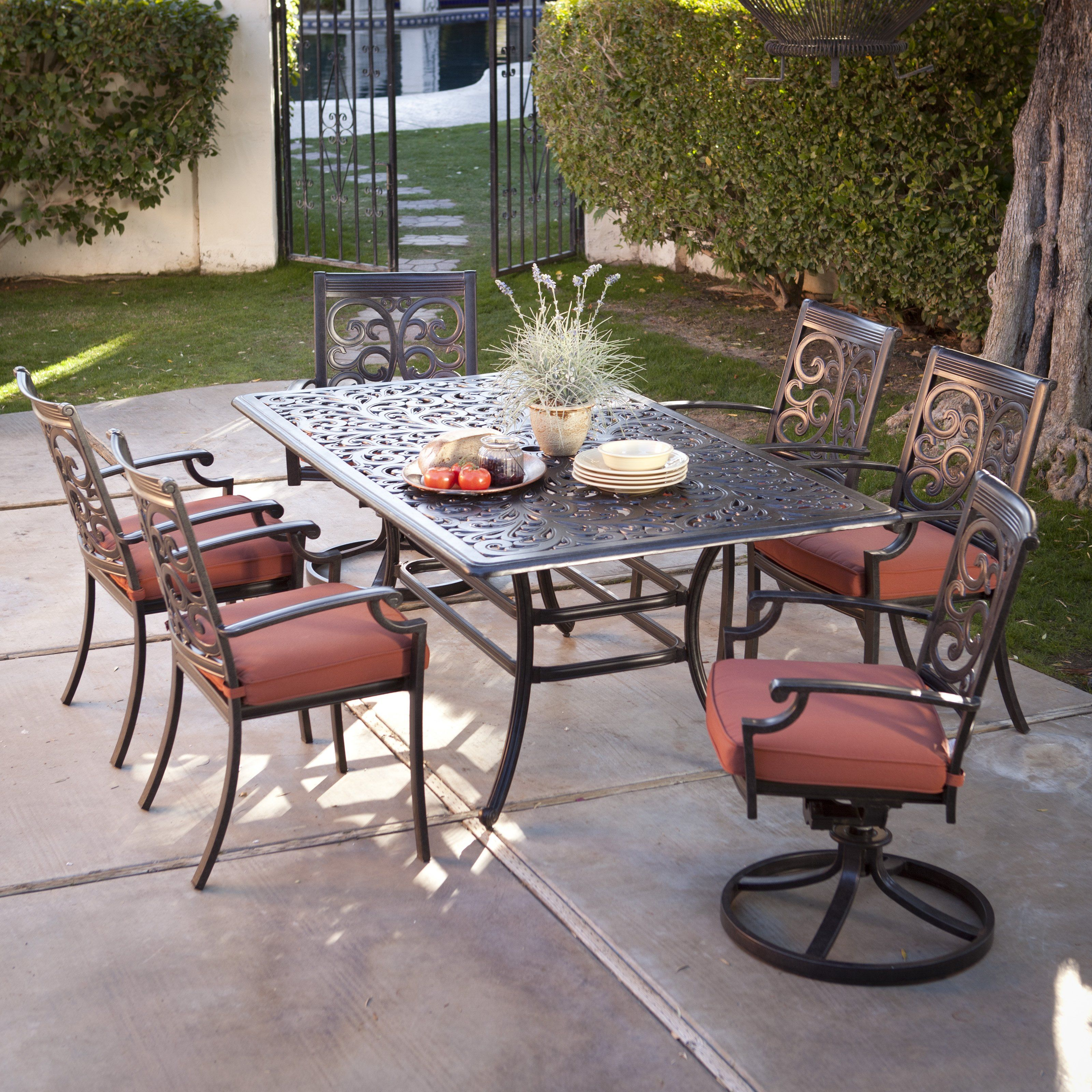 Palazetto San Miguel Cast Aluminum Patio Dining Set Seats 6