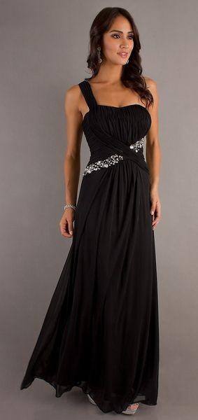 Grecian Style Black Dress Long Flowy Chiffon One Shoulder Empire