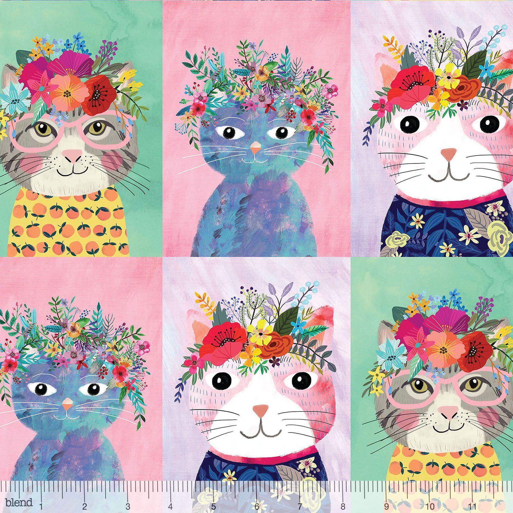 Cotton Quilting Fabric Blue /& White Cat Portraits Panel Michael Miller