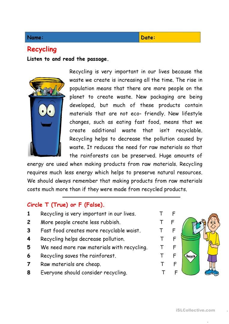 Esl Recycling Worksheets