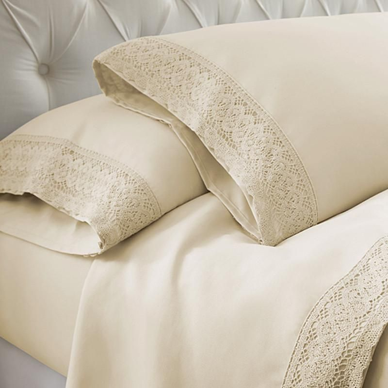 Crochet Lace Microfiber Sheet Set With 2 Pillow Cases Linen Lace Sheets Embroidered Sheets Luxury Sheet Sets