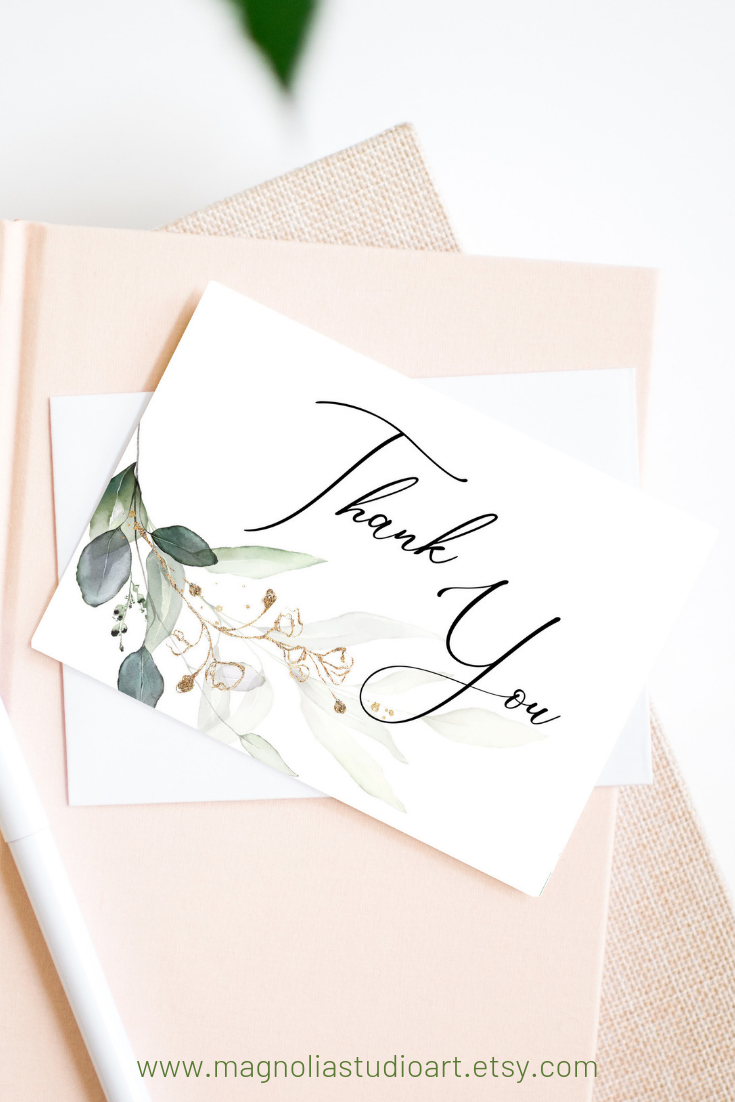 Greenery and Gold Leaf Printable Thank You Card, Wedding