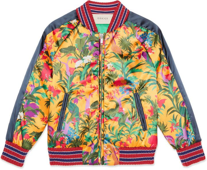 4ea777102 Gucci Children's jungle print satin bomber jacket | Products | Kids ...
