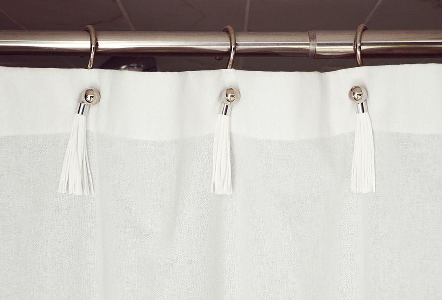 Easy Upgrade Diy Tassel Shower Curtain Rings Shower Curtain Diy Shower Curtain Shower Curtain Rings