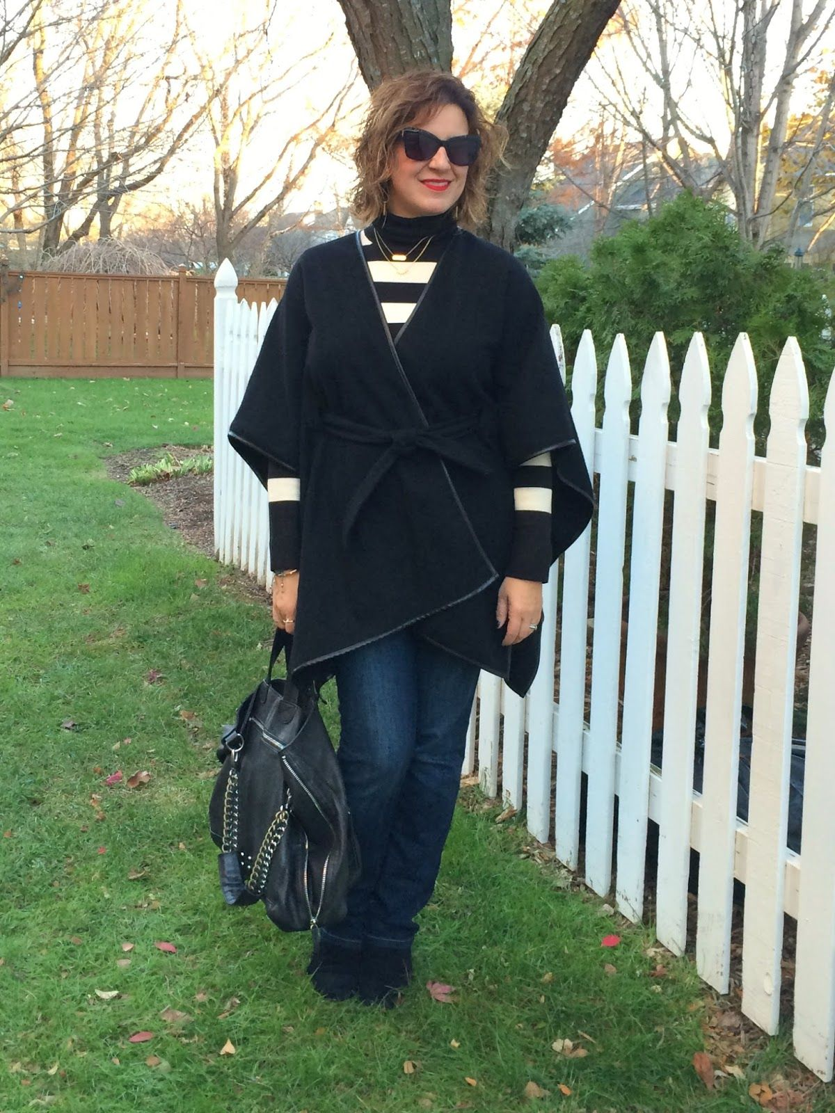 Ann Taylor Cape, French Connection T-Neck, Joe's Jeans, Rockport Boots http://bit.ly/1XSjGq2