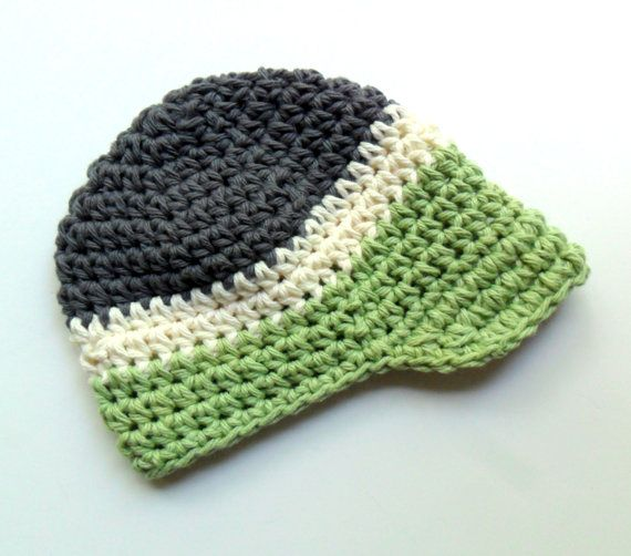 Crochet Baby Hat, Baby Boy Visor Hat, Newborn Crochet Visor Beanie ...