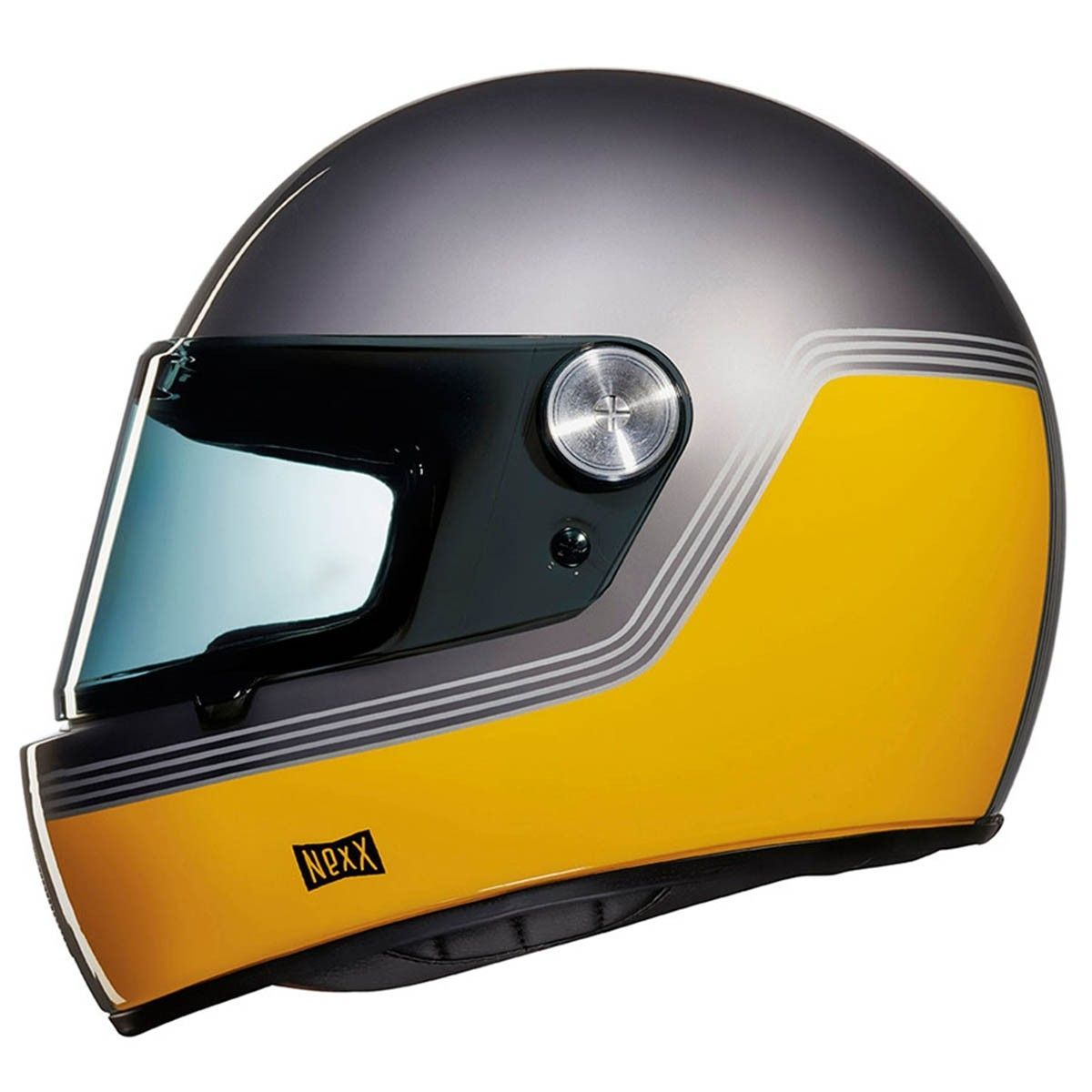 Nexx Xg100r Helmet Motordrome Yellow Side Motorcyclesgear Retro Motorcycle Helmets Motorcycle Helmets Retro Motorcycle