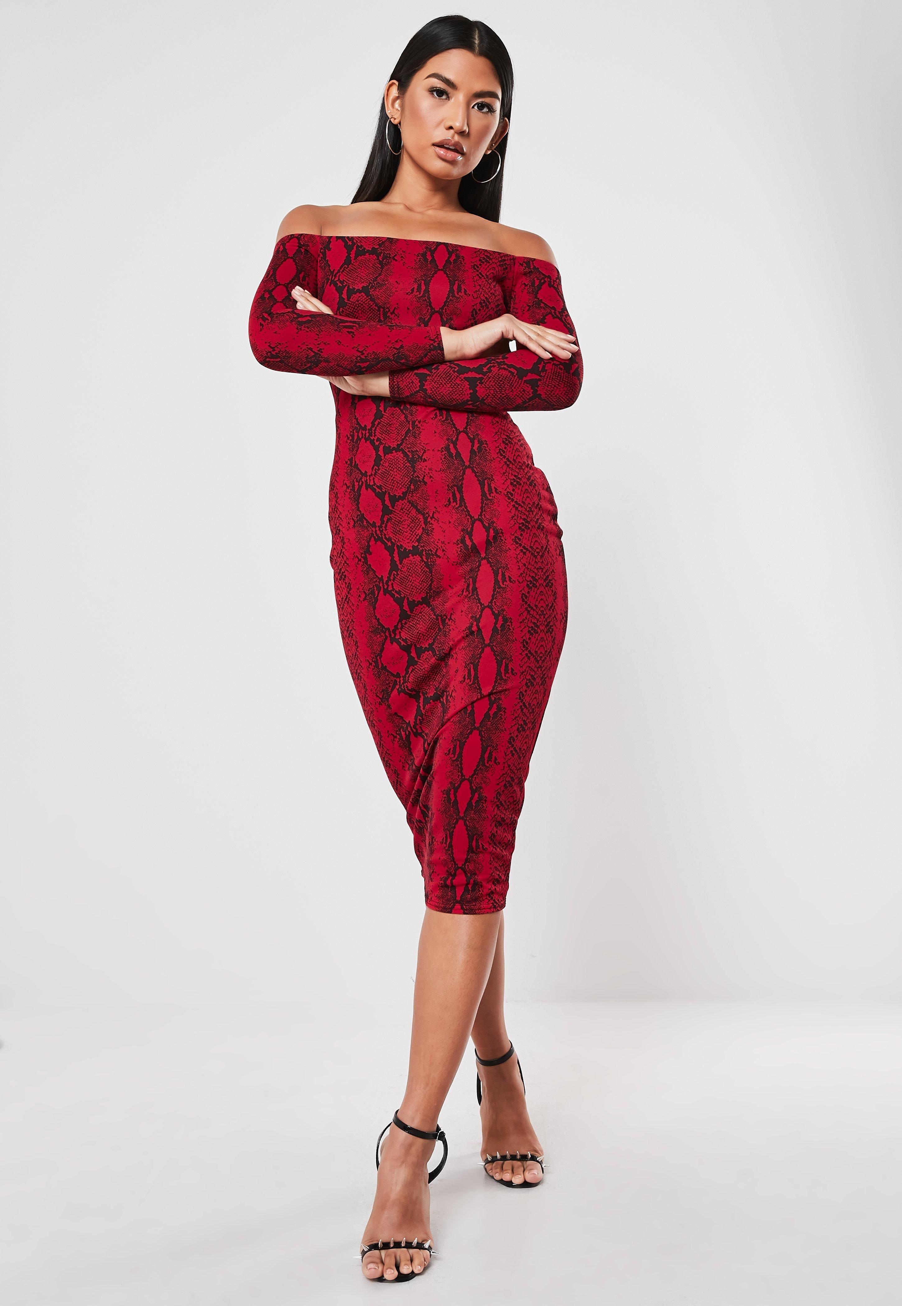 Red Snake Print Long Sleeve Bardot Midi Dress Sponsored Print Affiliate Long Red Bardot Midi Dress Trending Dresses Red Midi Dress [ 4200 x 2900 Pixel ]