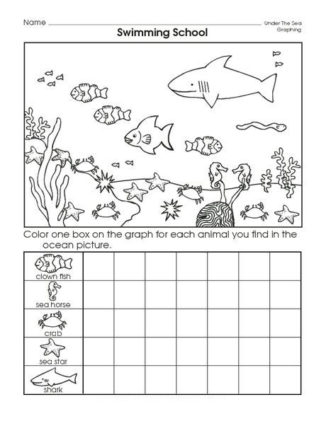 Www.preschoolactivities.us Wp-content Uploads 2015 12 Sea-animal-graph- Worksheet.jpg Kindergarten Math Worksheets, Animal Worksheets, Ocean  Theme Preschool