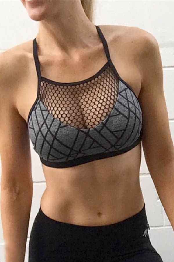 bd0553bdde Gray Fish Net Cross Back Geometric Print Sports Bra  043229  maykool  bra   sports  fitness