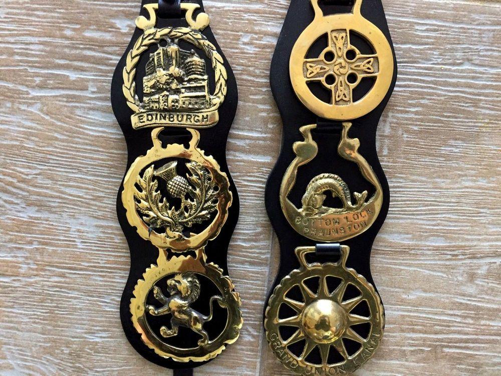 Horse Saddle Brass Brasses Tack Leather Medallion Harness