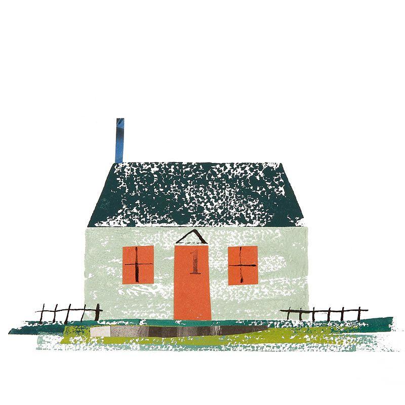 家 建物イラスト 草原に立つ寒色系の家 建物 イラスト 家の