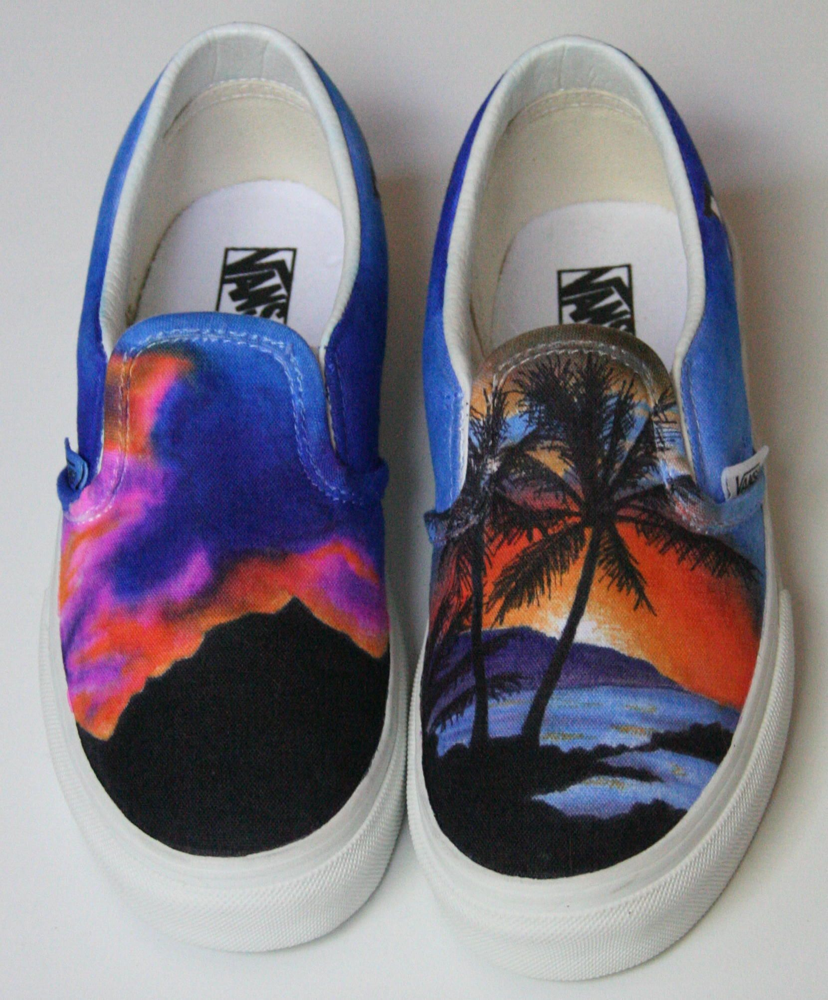 More Sharpie marker on canvas shoe, of two sunsets, one over the ...