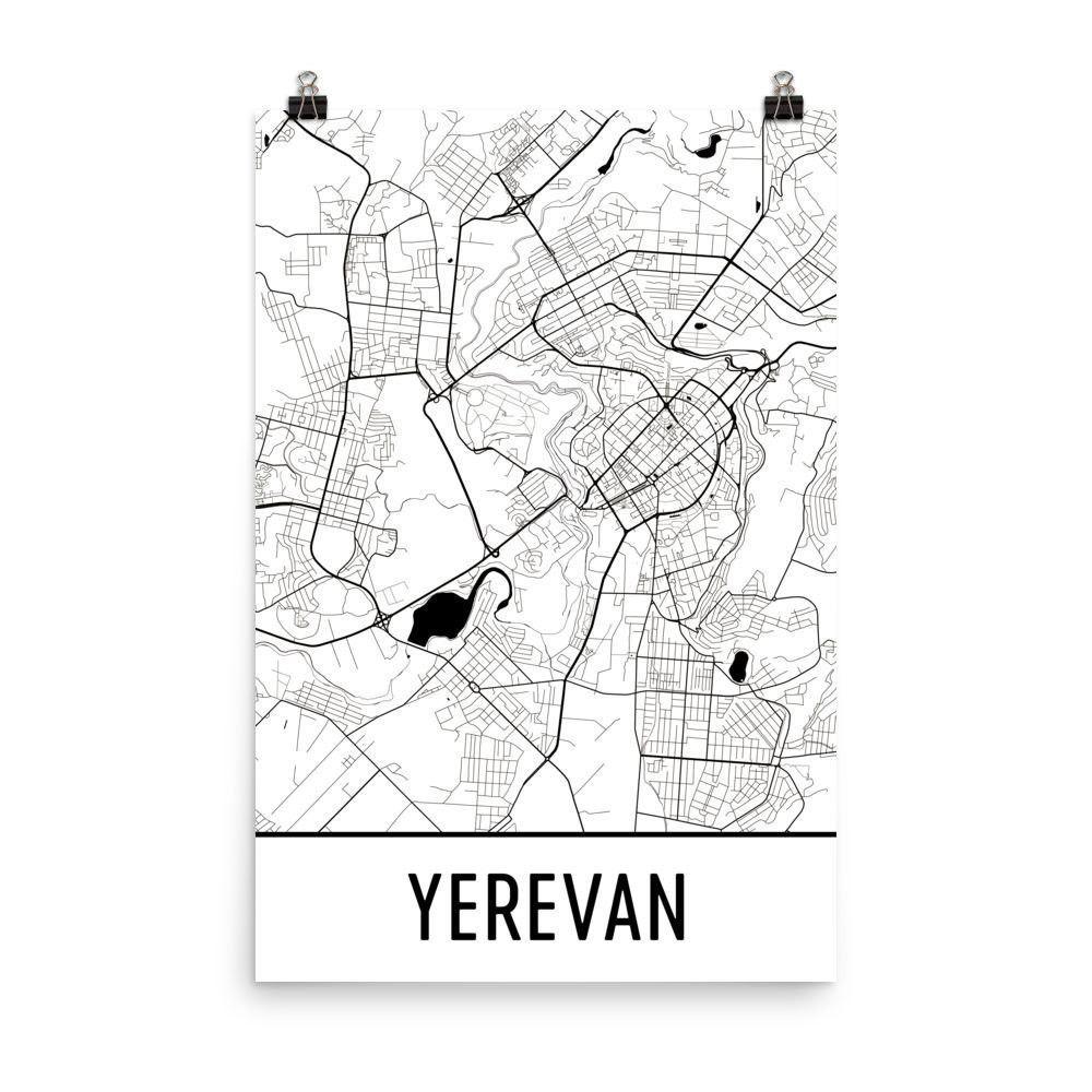 Yerevan Armenia Map Art Print Poster Wall Art From - Yerevan georgia map