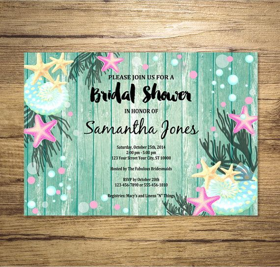 Beach bridal shower invitation sea shells and starfish under the beach bridal shower invitation sea shells and starfish under the sea filmwisefo Images