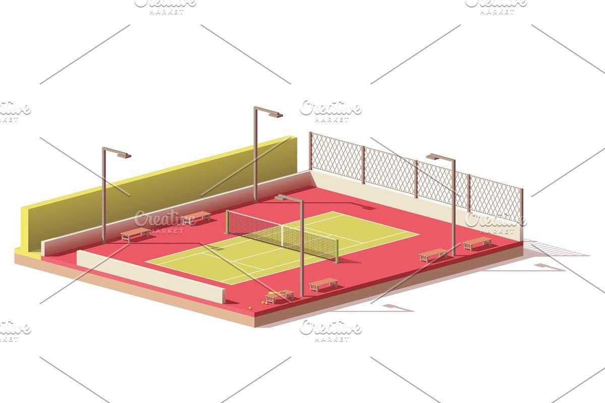 Vector Low Poly Tennis Court Low Poly Vintage Photoshop Actions Sports Wall