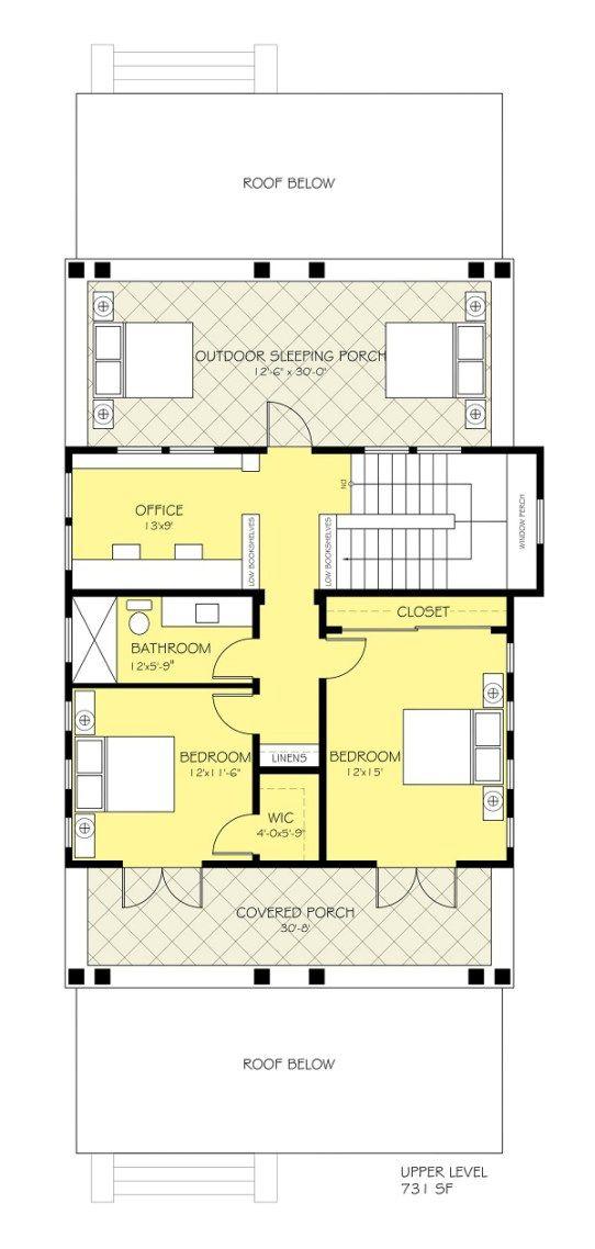 plano planta alta casa de dos plantas y tres dormitorios | planos de ...