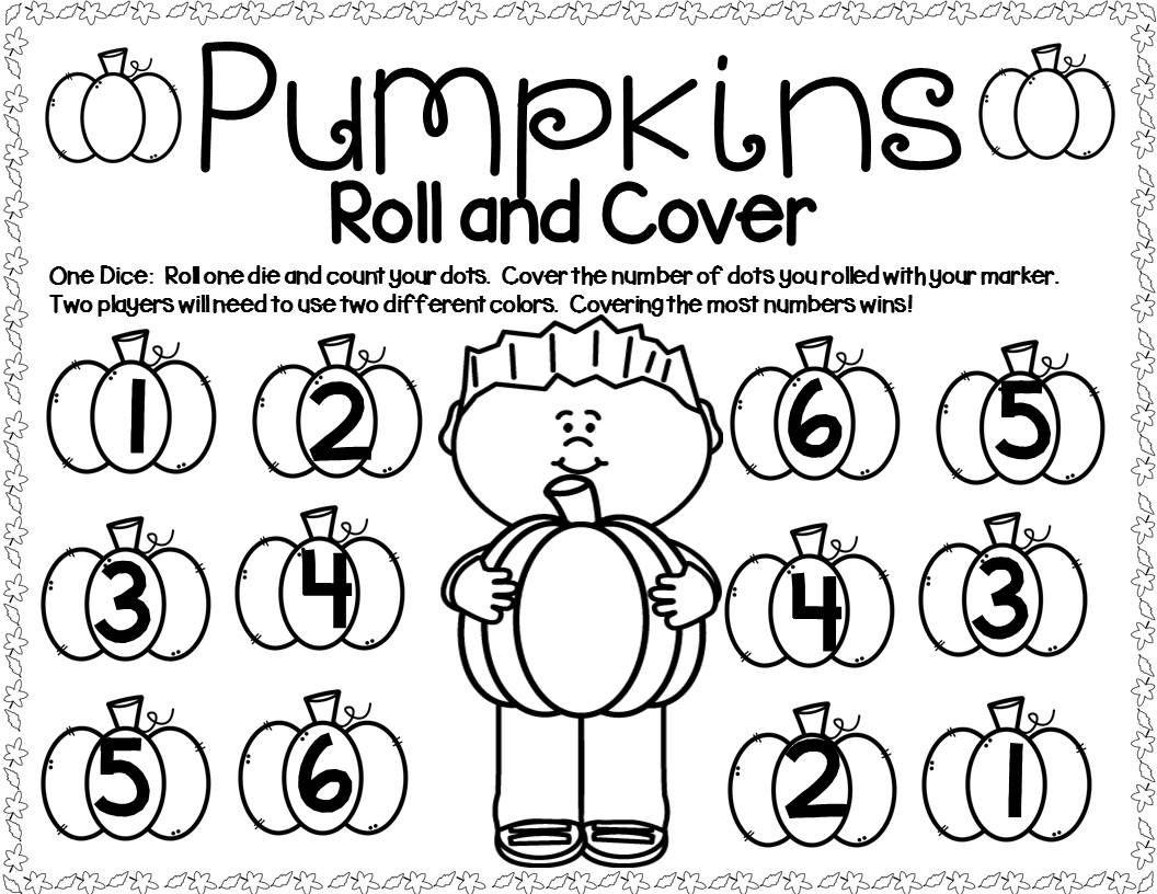Pumpkin Math Center Dice Games