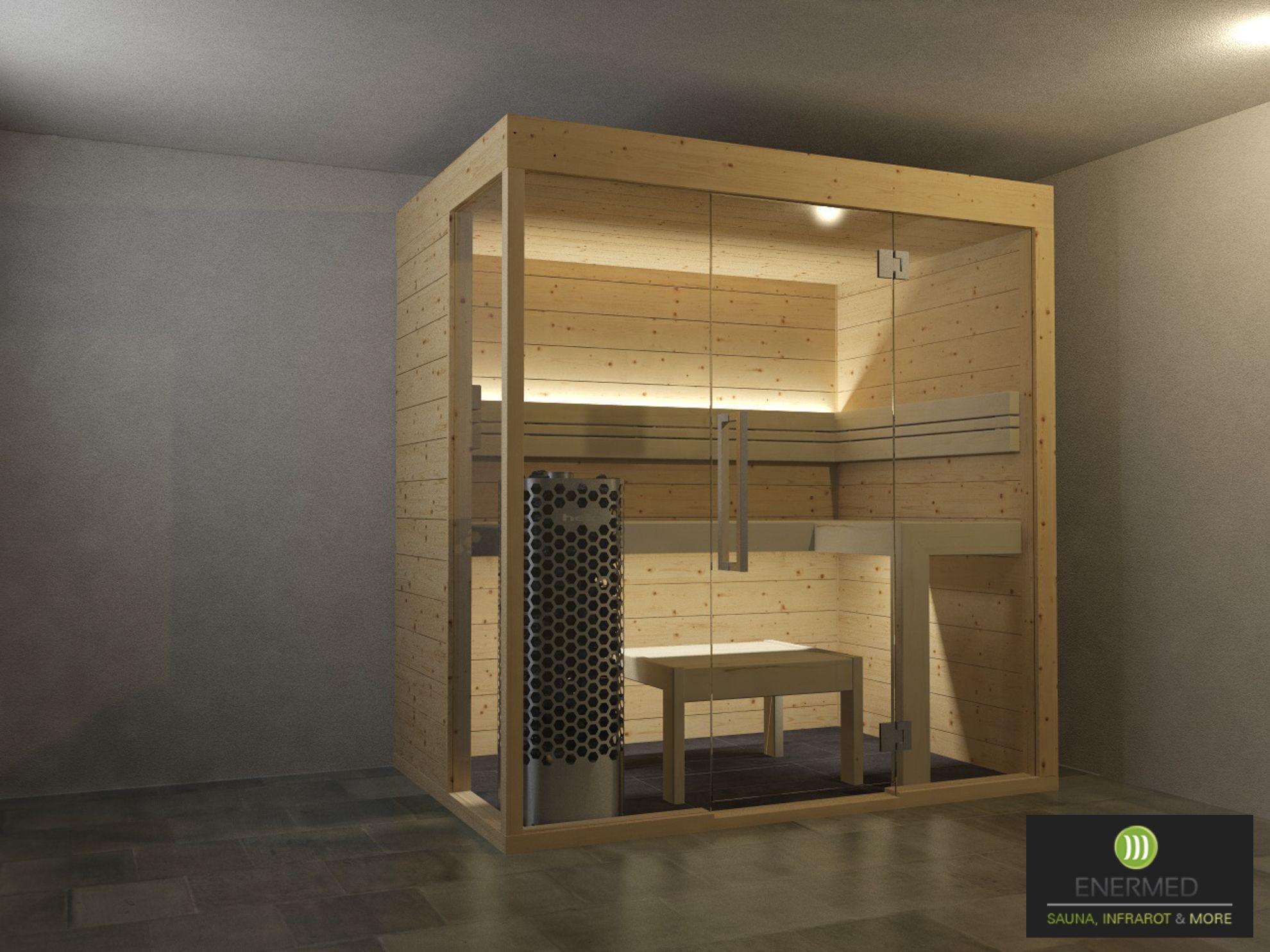 Fichten Sauna | Sauna aus Fichte | Sauna Glasfront | finnische Sauna ...