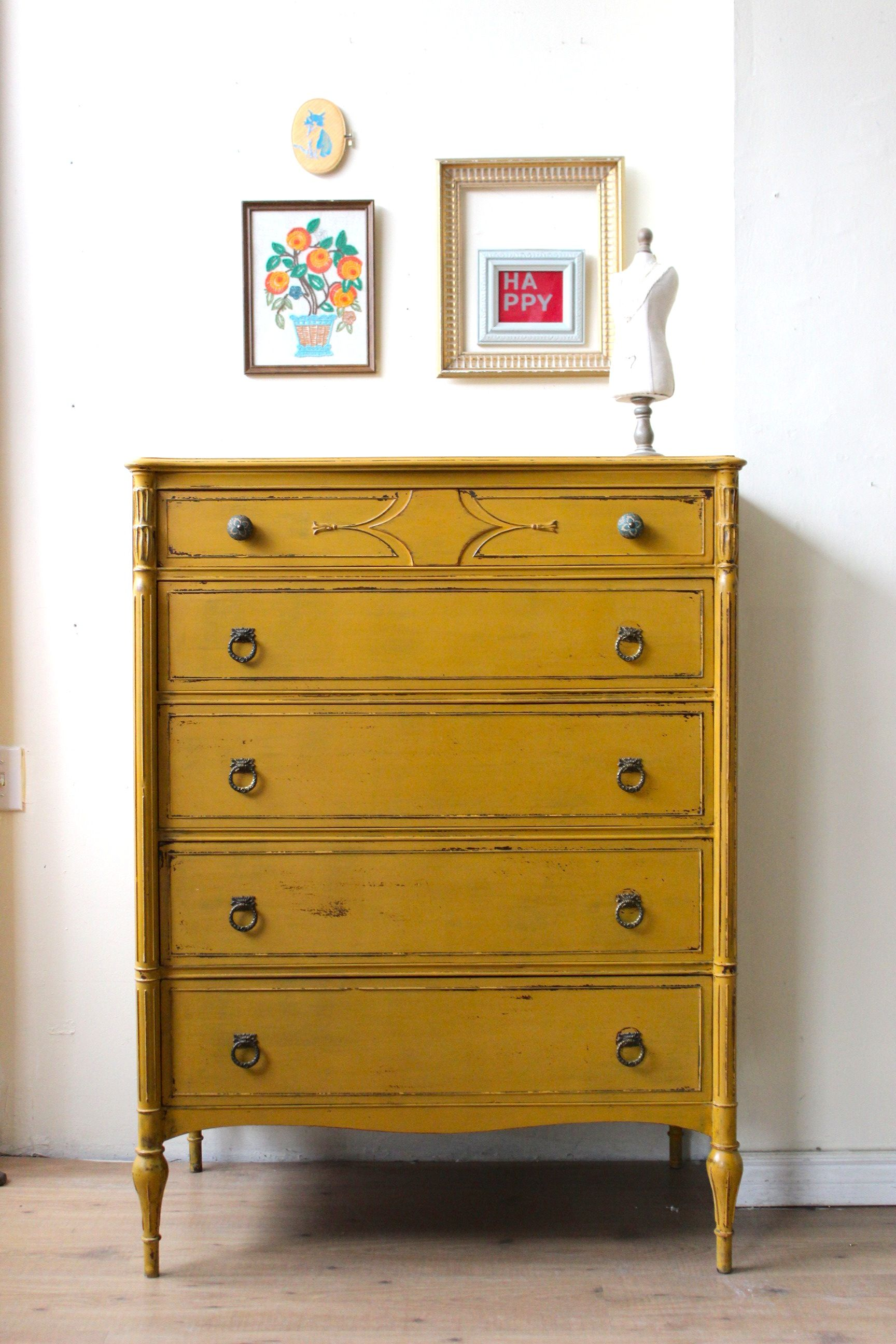 mustard yellow dresser painted with milk paint yellow