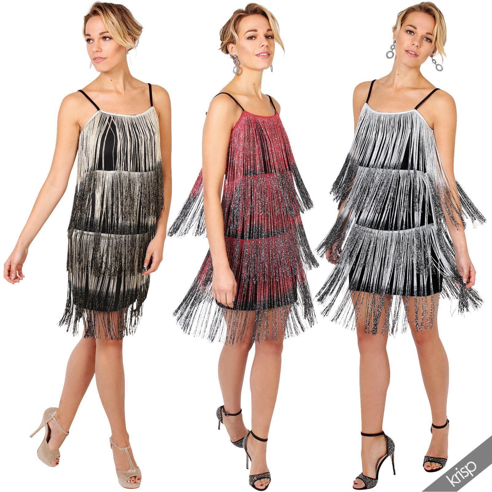 Details zu Damen Kleid Fransenkleid 20er Jahre Swing Charleston ...