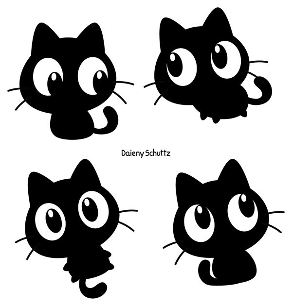 Cat Set Black White Grey Brown Grey And White Cat Cat Clipart Animals Black And White
