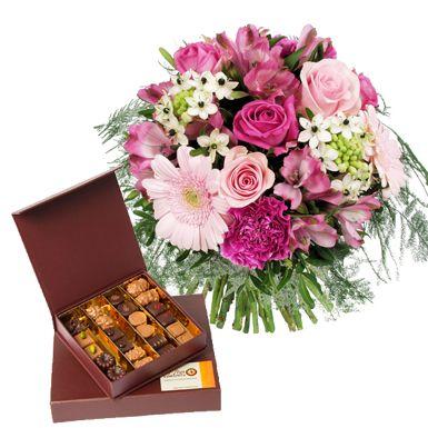 Bouquet de fleurs et chocolats - 46 €