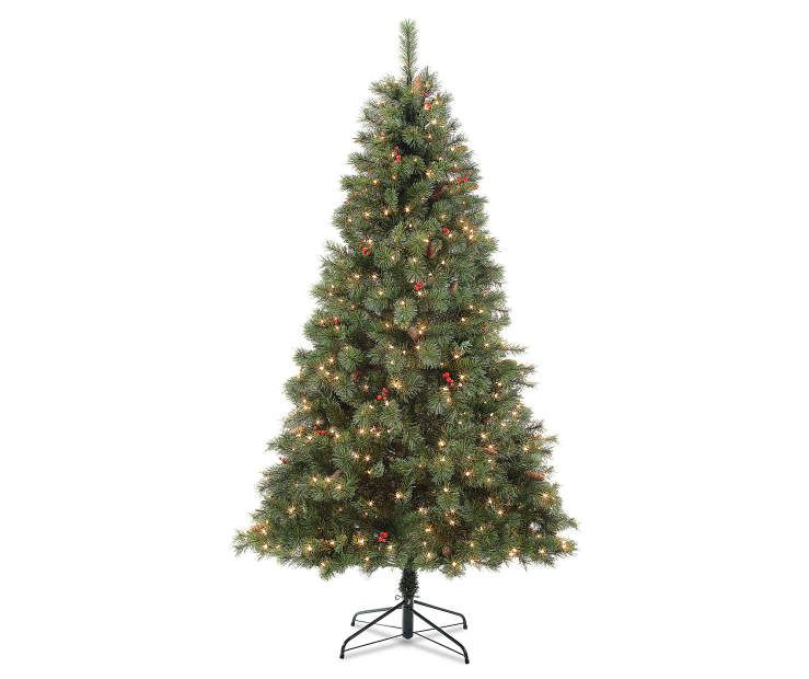 7.5 Foot Vancouver Pinecone and Berry Pre Lit Artificial Christmas ...