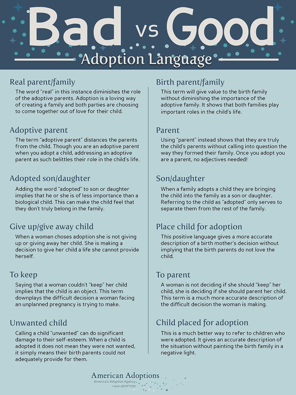 Adoption Language Infographic Adoption quotes, Adopting