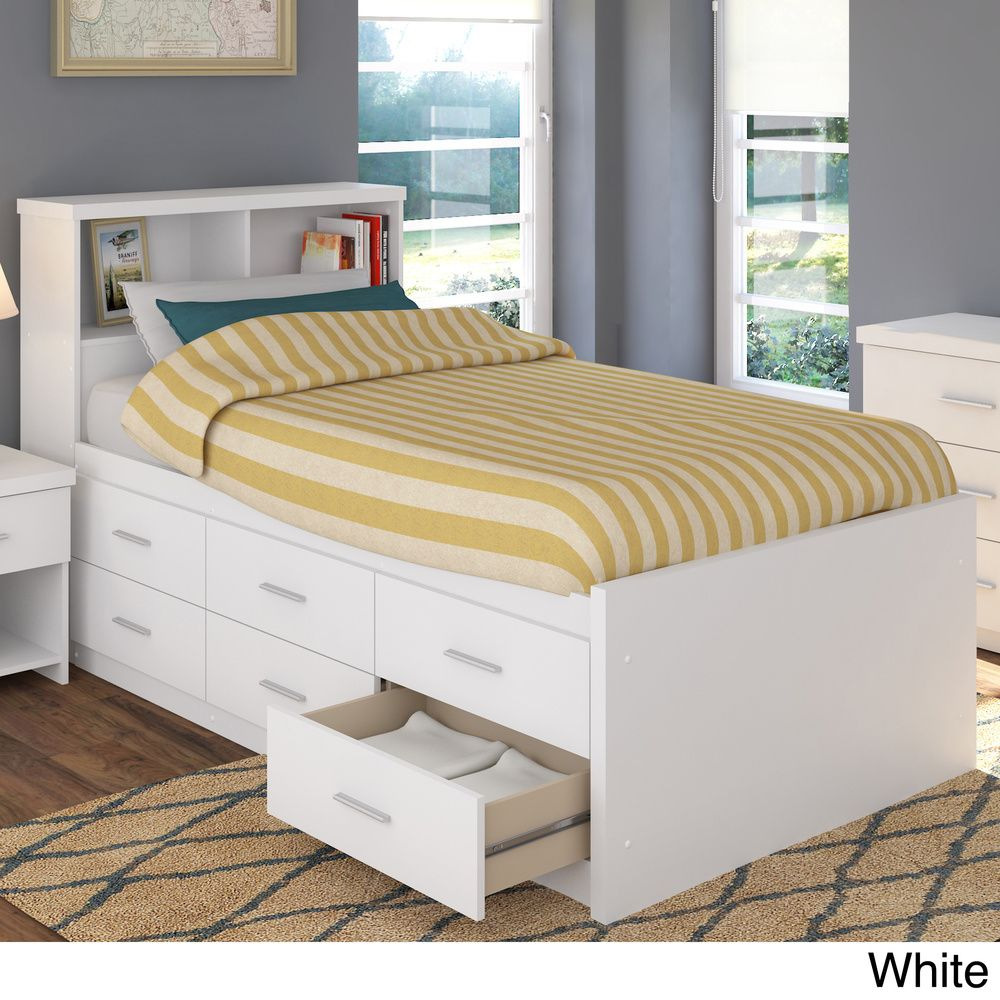 Full size white captains bed with storage - Sonax 2 Piece Single Twin Captain S Storage Bed Set With Bookcase Headboard By Sonax