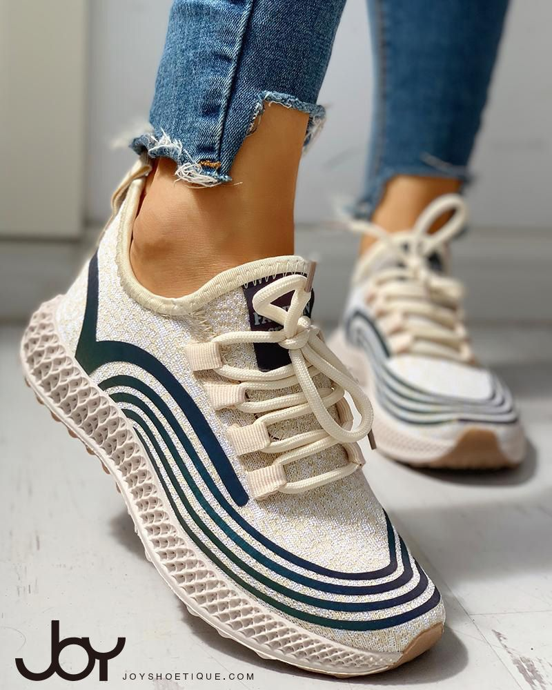 Striped Lace-Up Muffin Casual Sneakers 9