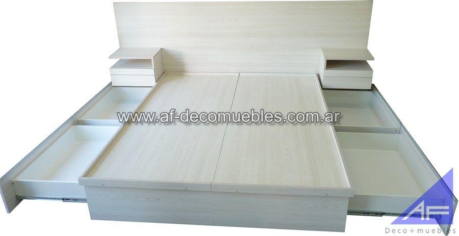 cama cajonera integrada con placas texturadas | Respaldos base ...