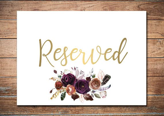Burgundy Reserved Sign Printable Card Marsala