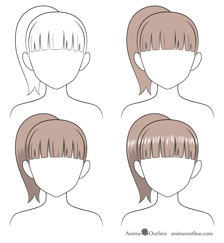 How To Shade Anime Hair Step By Step Animeoutline In 2020 Anime Hair How To Shade Face Drawing