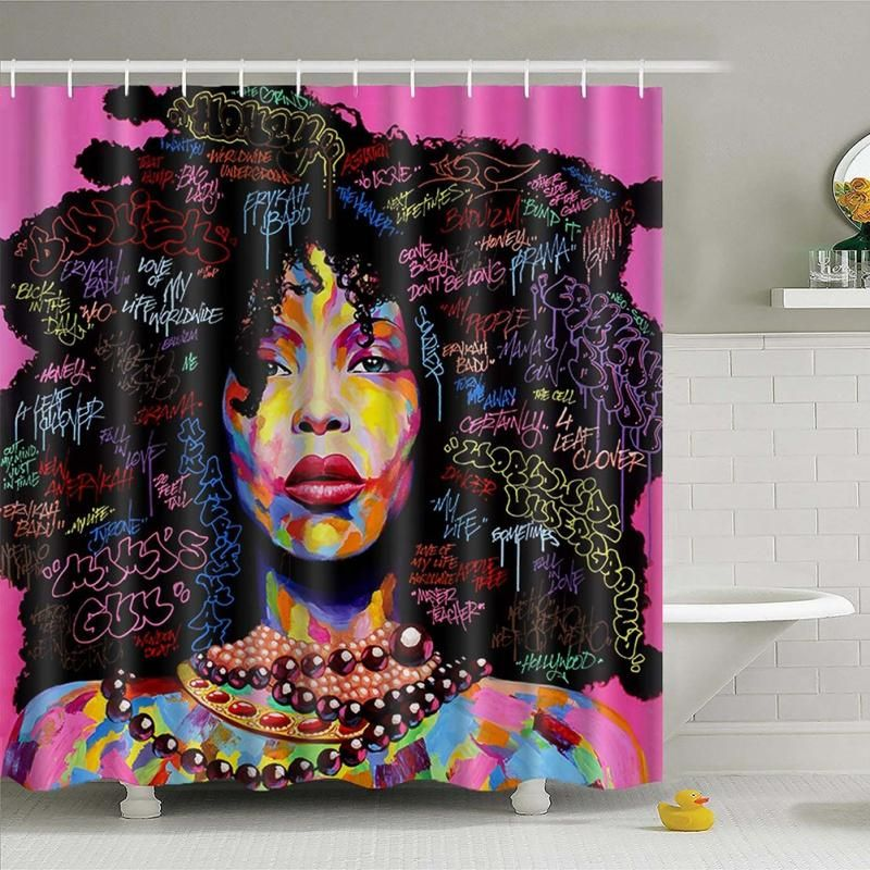 Waterproof Bathroom African Woman Shower Curtain Polyester Fabric