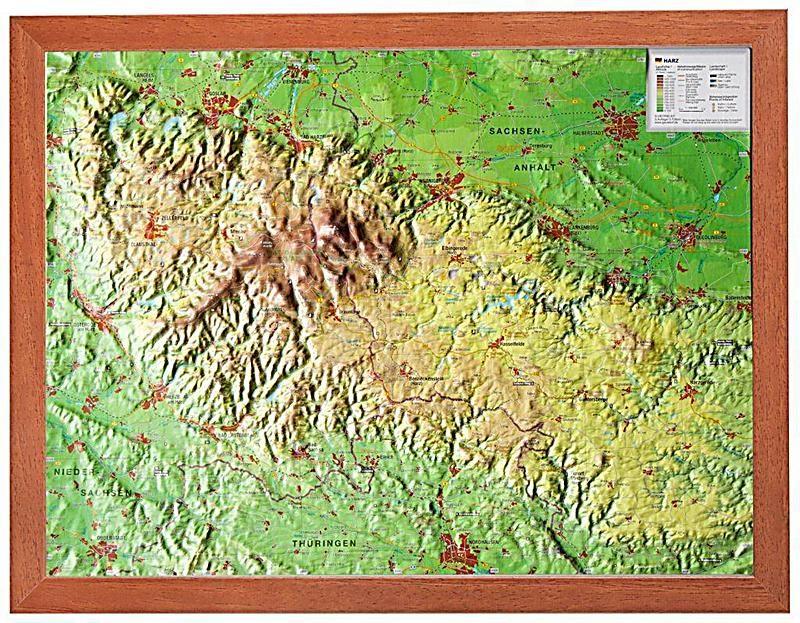 Harz Reliefkarte Klein Mit Holzrahmen Mario Engelhardt Andre