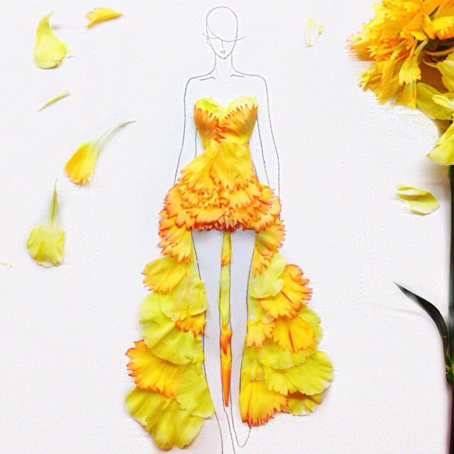 Drawing of a girl wearing a gown made from yellow flowers art art drawing of a girl wearing a gown made from yellow flowers art mightylinksfo