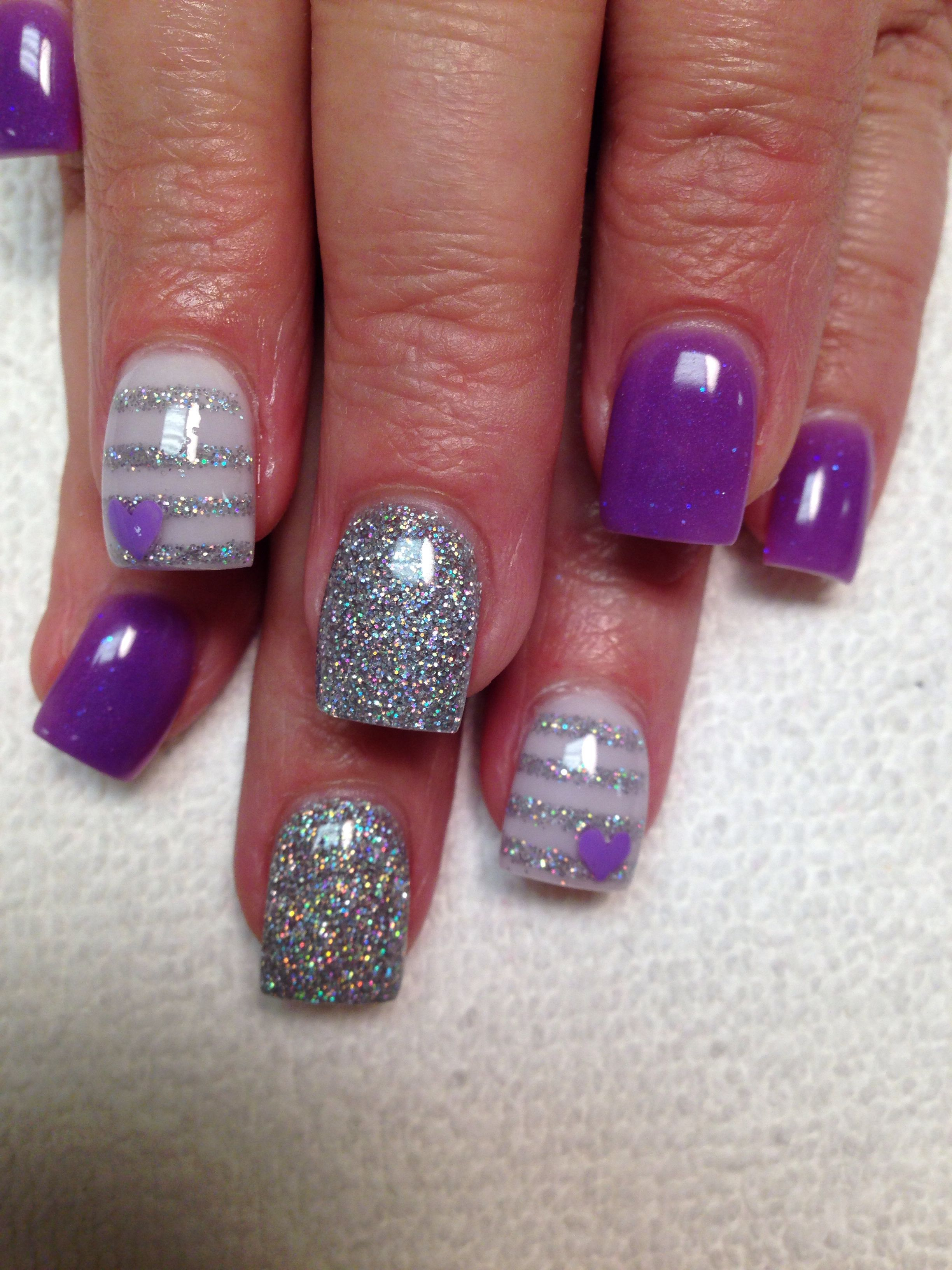 Purple And Silver Acrylic Nails Purple Heart Silver Stripes Purple And Silver Nails Valentines Nails Silver Nails