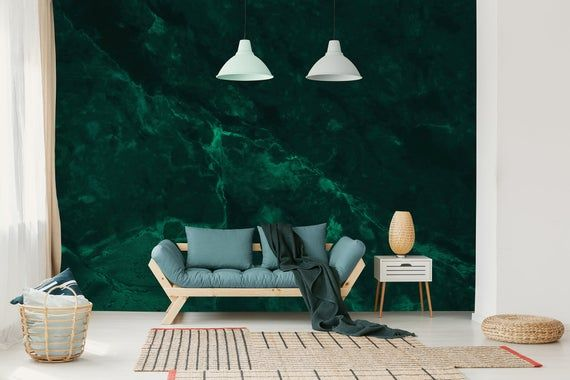 Emerald Green Abstract Wallpaper Self Adhesive Peel And Etsy In 2021 Abstract Wallpaper Dark Teal Textured Wallpaper Wall Murals