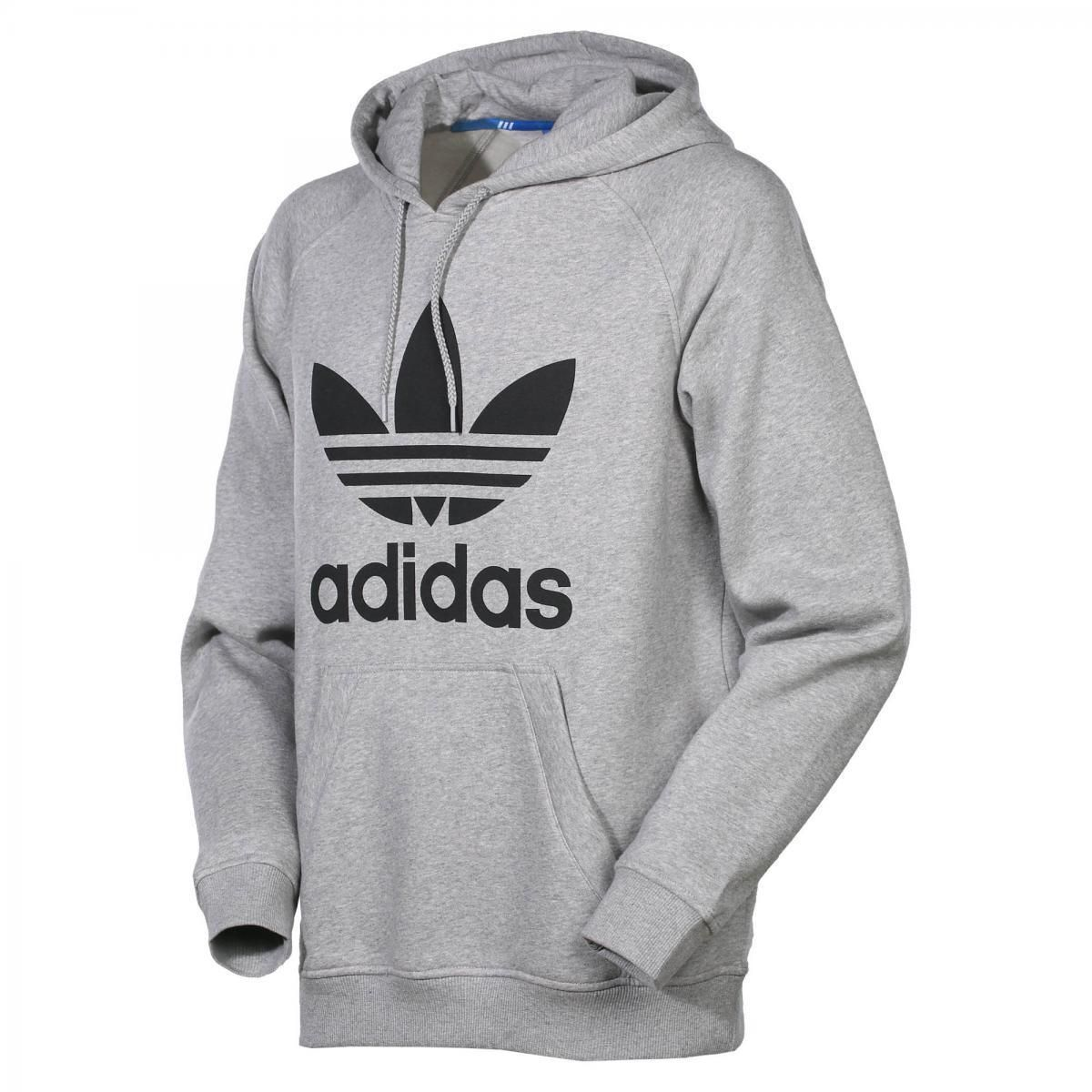 Adidas Mens Size S M L Xl Trefoil Logo Hoody Overhead Sweater Fleece Grey  Retro 3f3087193