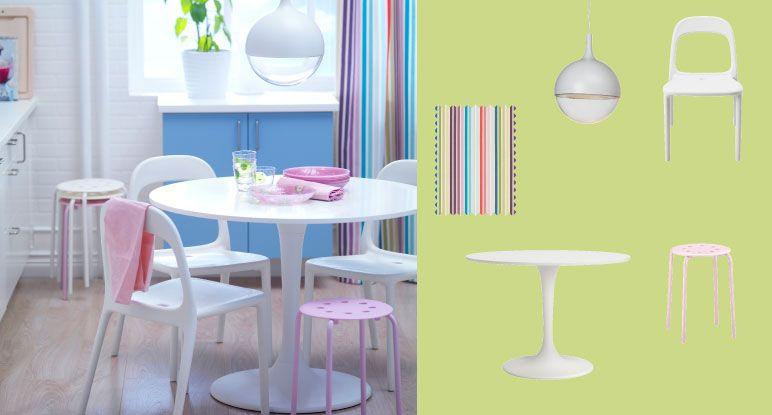 DOCKSTA table blanche 4 places avec URBAN chaises blanches et MARIUS