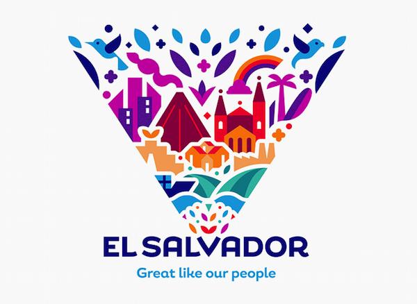 El Salvador S Redesigned National Identity Features Vibrant Illustrations Designtaxi Com City Logos Design Place Branding Tourism Logo