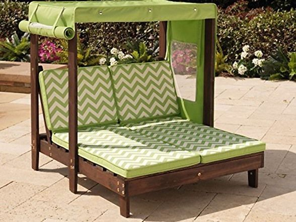 KidKraft Outdoor Double Chaise Lounge Chair With Canopy  184