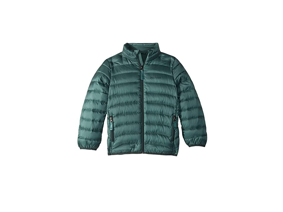 Marmot Kids Tullus Jacket (Little Kids/Big Kids) (Mallard Green) Boy's Coat. Keep protected in the Tullus Jacket  so you can have fun on any adventure that comes your way. Athletic fit hugs contours of the body. Water resistant 600-fill power down with Down Defender. Stand collar extends protection. Full-zip closure features a storm flap and zipper garage. Binding at cuffs and trim. Long sleeves. Dual-zip pockets. Straight hem #MarmotKids #Apparel #Top #Coat #Green