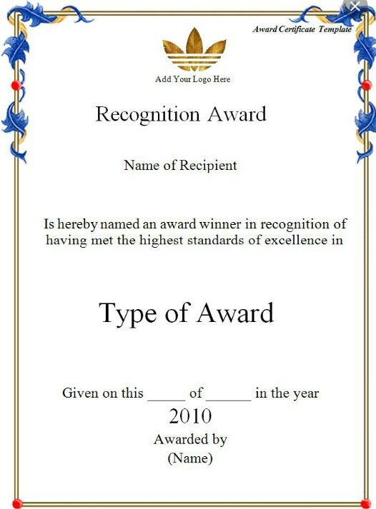Recognition award certificate template Pinterest Recognition