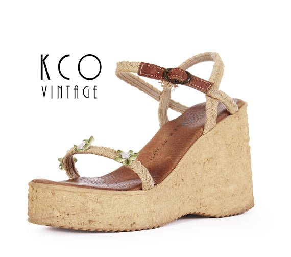 5495e77e30001 Platform Sandals 8 1990's Vintage Sbicca Wedges Women's Summer Shoes ...