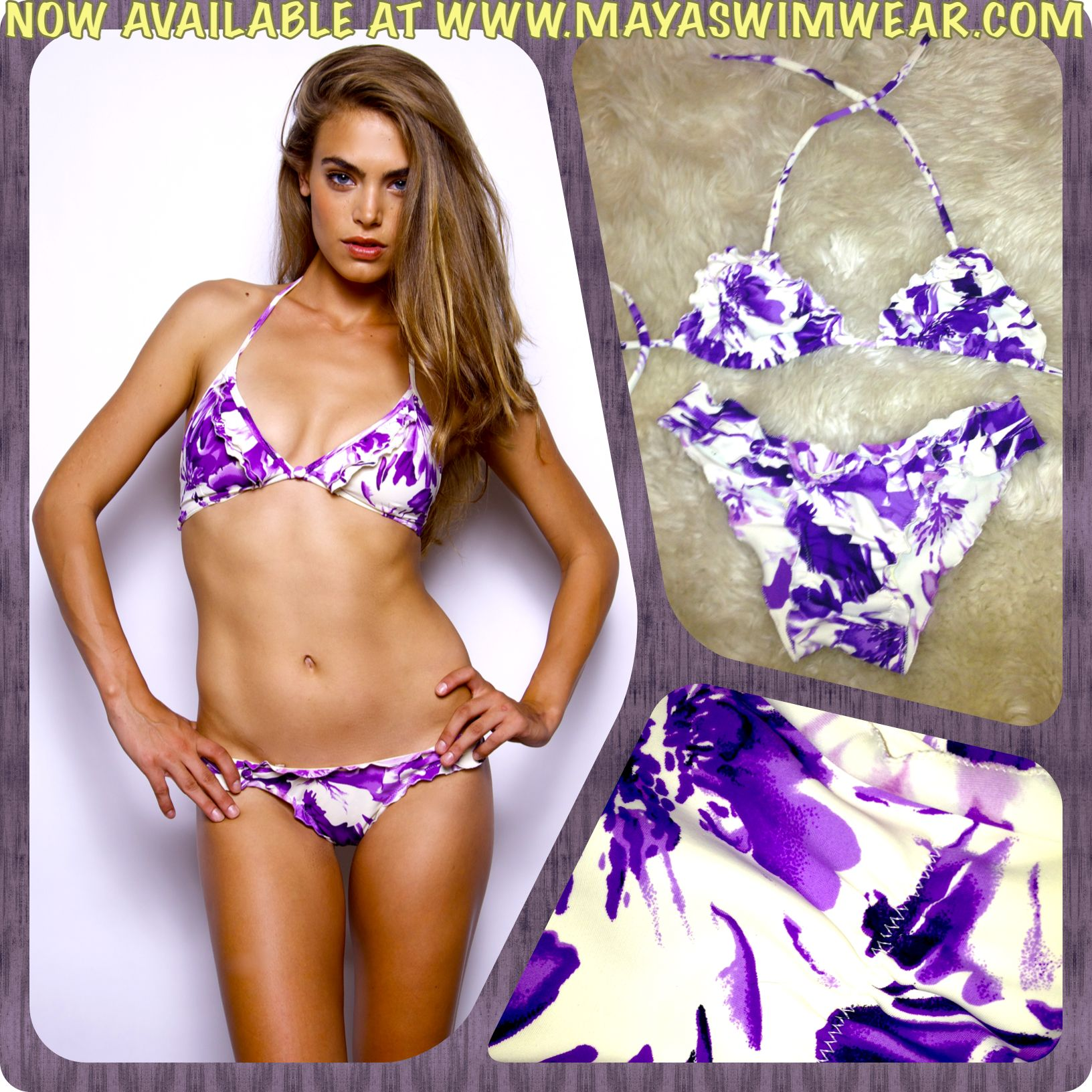 Obsessed with our WILD FLOWER VIOLET print  Check out our entire safari inspired 2013 collection now available at www.mayaswimwear.com ✨ #mayaswimwear #maya #swimwear #wildflowerviolet #violet #florals #bikinis #summer #fun #prints #mayalove #2013 #safari